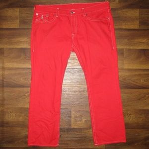 True Religion Red Jeans White Stitching Size 46